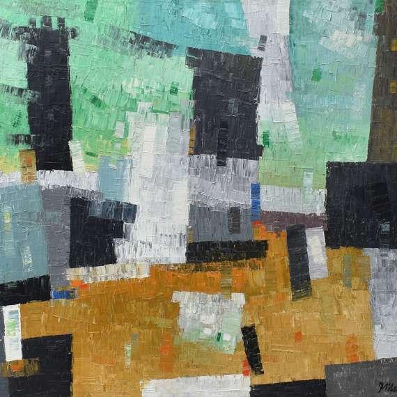 James McCray 'Green Gold Abstract'